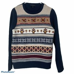 J.Crew Jeweled Fair Isle Striped Wool Sweater S